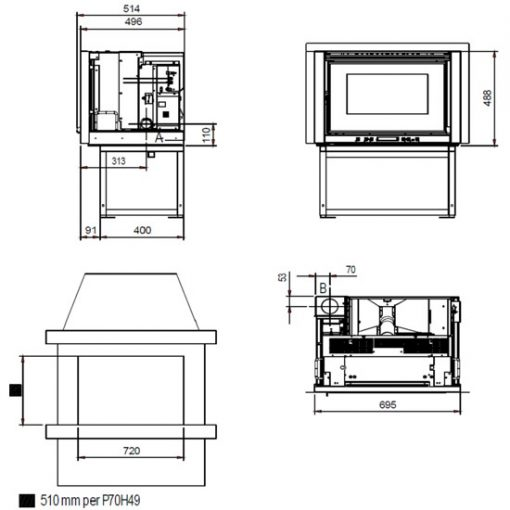 Chimenea-pellet-insertable-Comfort-P-70-H-49-medidas