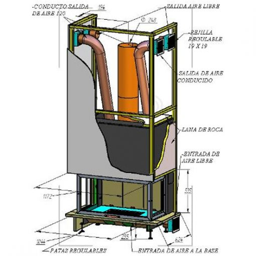 montaje-chimenea-leña-puerta-escamoteable-3-caras-hse-100-3c-a